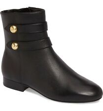 MICHAEL KORS Boots Maisie Gold Button Black Flat Zip Leather Ankle Booties 7.5