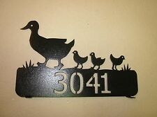 DUCK FAMILY  MAILBOX TOPPER (YOUR NAME) STEEL TEXTURED BLACK POWDER COAT FINISH