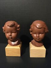 Goebel Terra Cotta Boy & Girl Busts - Early Trademark 3 - Vintage and Rare