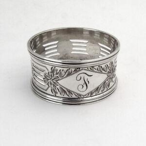 Edwardian Style Openwork Napkin Ring Webster Sterling Silver Mono F
