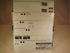 DECALS TRAIN 1/87 MARQUAGES GRUE COCKERILL /SECOURS/DISTRI GO - COLORADO 8735 UV