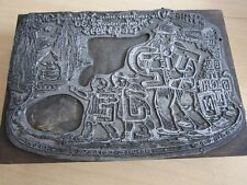 """Relief Stempel Grafik """" Deutschtum Renate Detlev 1927 """" Metall auf Holz 13x9 cm"""