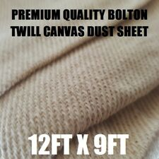 3 HEAVY DUTY COTTON CANVAS TWILL BOLTON PREMIUM DUST SHEET 12' x 9'  PRO QUALITY