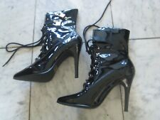 NEW Black ankle boots w/double locks size 9 sexy Punk / dominatrix Free S&H