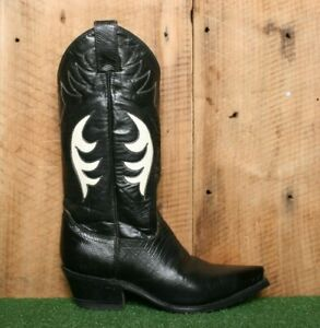 JUSTIN Black Lizard Embossed Leather Pointed Toe Western Boots Women's Sz. 5B