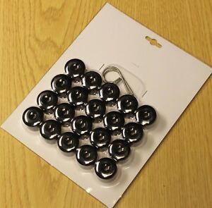 WHEEL NUT COVERS FOR VW POLO GOLF PASSAT SHARAN TOURAN BLACK CAPS 17mm x 20
