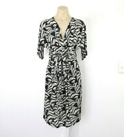 NICOLA FINETTI Size 10 Pencil Stretch Dress Black and Off White Deep V-Neck EUC