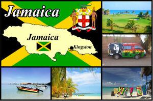 Jamaica Mapa Y Bandera - Recuerdo Novedad Nevera Imán - Monumentos / Nuevo /