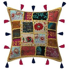 Decorative Cotton Sofa Throw Pillows Covers Yellow Tassels Floral Cushion Cover