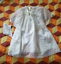 3pc. christening-baptism baby dress size 1-2 ??. Bonnet, dress, Cape. Beautiful