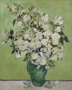 VINCENT VAN GOGH VASE OF ROSES flowers floral art print reproduction on canvas