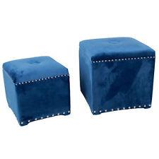 Velvet Upholstered Stool / Ottoman Blue Set Of 2 - AV37870