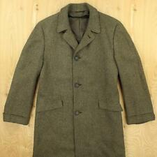 vtg 50's 60's wool tweed over coat SMALL - MEDIUM green brown herringbone trad
