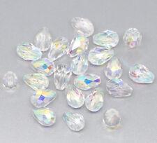 50 AB Farbe Oval Kristall Facettiert Glasperlen Beads Tropfen 11x8mm