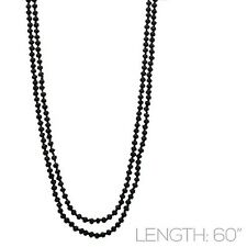 """60"""" Long Black Crystal Beaded Wrap Around Necklace"""