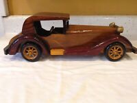 """Vintage Wooden Car Handmade 15"""" Inches Crafted Wood Collectible"""