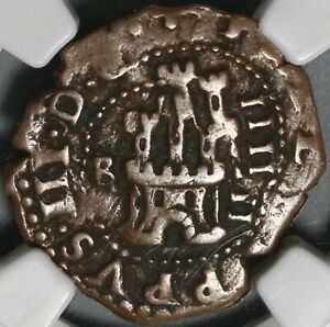1604 NGC VF 30 Spain 4 Maravedis Philip III Burgos Double Error Coin (21012403C)