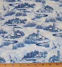 Lighthouse Sailboats Scenic Nautical Timeless Treasures Sea Sky Fabric By Yard