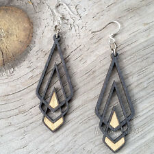Chevron Deco Black Laser Cut Wood Earrings Green Tree Jewelry COMBINED SHIPPING