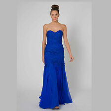 Fitted Strapless Silk Party Formal Dress Removable Straps Size 10 Style E403