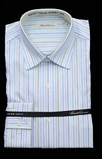 Men's KENNETH COLE White Striped NON IRON Dress Shirt 17 32/33 NWT NEW