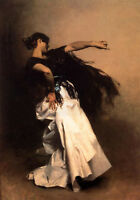 """Oil painting Spanish Dancer - young nice girl dancing in white dress canvas 36"""""""