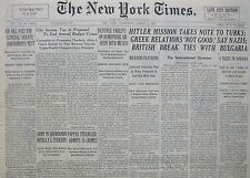 3-1941 WWII MARCH 5 HITLER MISSION TAKES NOTE TO TURKS BRITISH BREAK BULGARIA