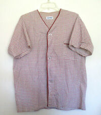 Mens Vintage Puritan Marroon, Gray, & White Plaid Summertime Pajama Set, Size M