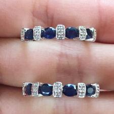 10k White Gold Natural Blue Sapphire Diamond Wedding Band Two Ring set Enhancer