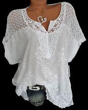 Weiße Tunika Shirt Bluse bestickt Häkel Spitze Übergröße große Größe 44 46 48