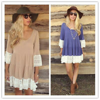 Women's Loose Long Sleeve Lace Casual Blouse Shirt Tops Fashion Blouse