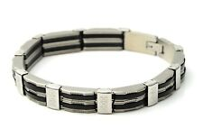 "Men Stainless Steel Chain Bracelet with Carbon Black Up to 22cm 8.5 "" Buckle"