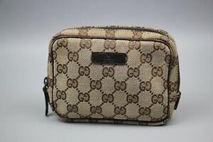 GUCCI Authentic designer Biege/Brown Canvas Monogram Makeup Cosmetic Bag Size XS
