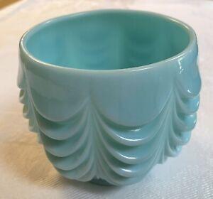 "Vintage Fostoria Teal Blue Heavy Milk Glass Draped Layers Planter Bowl Vase 4"""