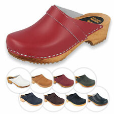 Vollsjo Mens Wooden Clogs Genuine Leather Made in EU