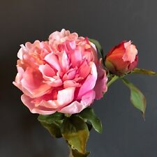Large Pink Peonies with Bud, Realistic Artificial Luxury Faux Silk Peony Flowers