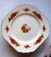 "Wedgwood & Co. Richelieu Cake Plate Square Orange and Black Flower 10 1/2"" Plate"