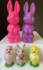 Vintage Hfc Barns 1972 Plastic Easter Chicks & Rabbits ~ Lot of 5 ~ Hong Kong