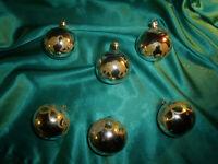 ~ 6 alte Christbaumkugeln Glas silber Goldglitzer Vintage Weihnachtsbaumkugeln ~