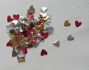 100 x 9mm Hotfix Iron on Nailheads Love Hearts, Mixed Red, Silver, Gold