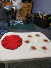 New ListingVintage Set of 2 Hand Crochet Doily 1 Rose Design and the other one solid red