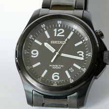 SEIKO KINETIC 100M MOV'T JAPAN 5M62-OCZ8 HR 2 BLACK MEN WATCHES, GOOD CONDITION