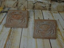 """Carved Crabs Tiles Wall Decor 3 1/2"""" x 3 1/2"""" Pair Set Of Two"""