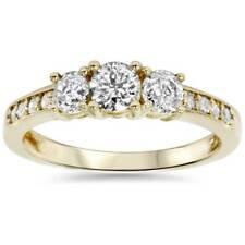 1 кар 3 камень бриллиант обручальное кольцо 14K желтое золото