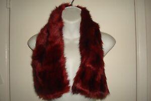 Women's Goth Vamp Dark Red Faux Fur Pull Through Collar Scarf Very Soft