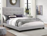 King Size Platform Bed Frame w/Tufted Headboard Gray Upholstered Beds Wood Frame