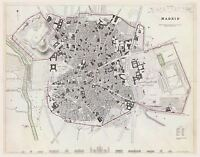 MAP ANTIQUE UNKNOWN 1831 MADRID CITY PLAN OLD LARGE REPLICA POSTER PRINT PAM1244