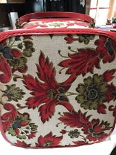 Vintage Travel Case Hat Box 1950's Lightweight Red Floral With Handle