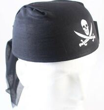 Black Pirate Party Hat Bandanna Style Pirate Cap with Skull  .41-623