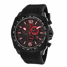 NEW Swiss Legend 21046-BB-01-RED Mens SPRINTER Black Tire Tread Red Accent Watch